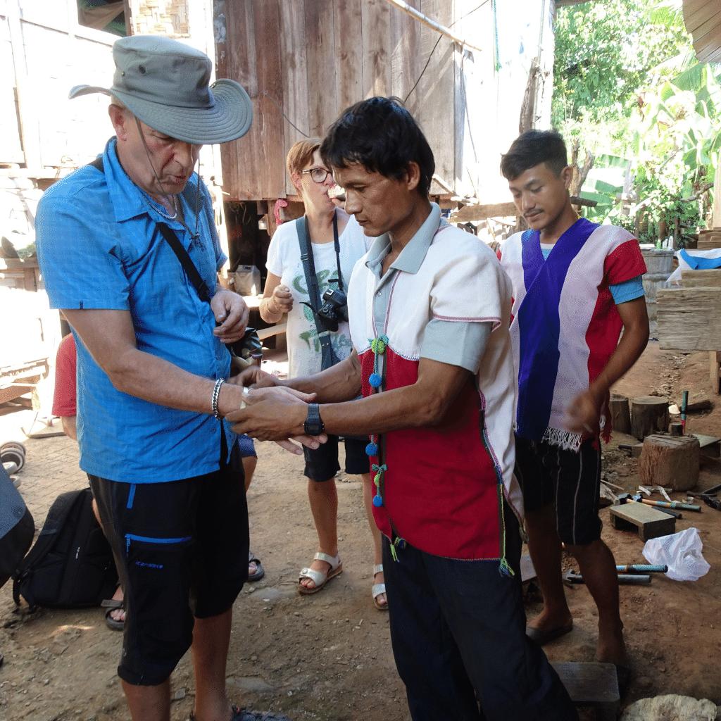 Brass bracelet making workshop in Huay Pu Keng