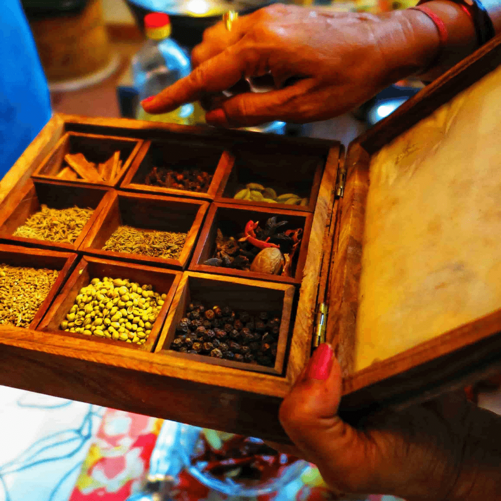 Buying local spices in Jaipur, India