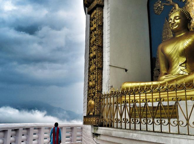 The World Peace Pagoda in Pohkara, Nepal
